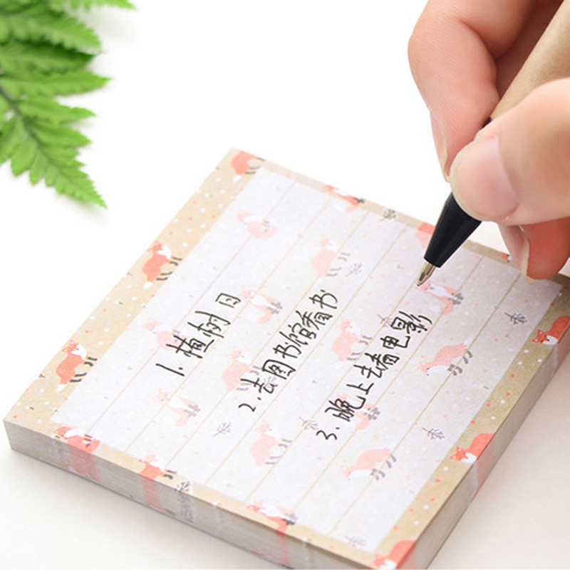 MEIKENG 4PCS Korean Stationery 80 Sheets Fresh Stickers Memo Pad Post it Note Pads Sticky Notes Office School Student Supplies