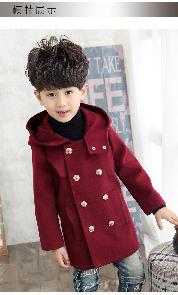 ФОТО children's clothing /2016 fashion boys's cashmere woolen hooded long section winter woolen coat / winter jackets for boys