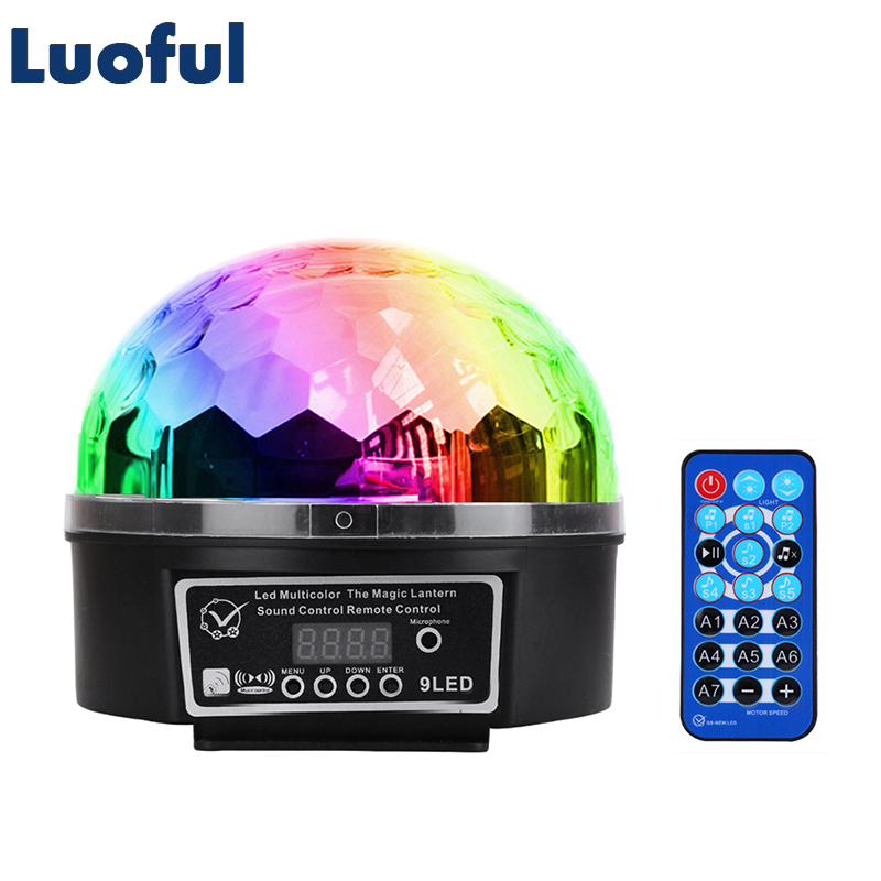 9 Colors 27W Disco Ball Lumiere Stage Lighting Effect Lamp Sound Activated Laser Projector DJ Holiday Party Club Music DMX Light rg mini 3 lens 24 patterns led laser projector stage lighting effect 3w blue for dj disco party club laser