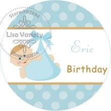 Free Shipping New Paper Custom Sticker for Birthday / Baby Shower,Round Shape,3.8cm,B50