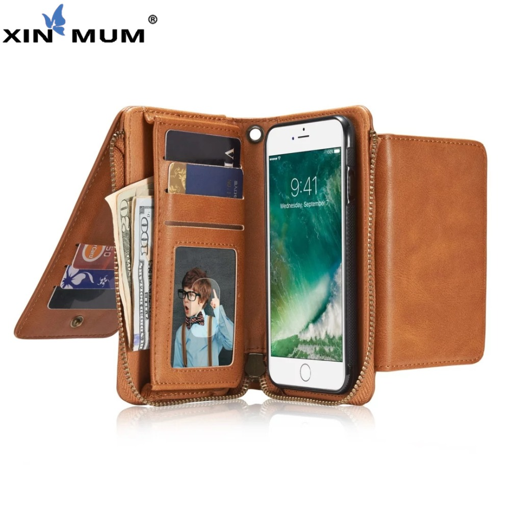 XIN-MUM Retro PU Leather Wallet Purse Case Cover For iPhone 6 6S Luxury Multi-functional Cover Mobile Phone Cases Bag Handbag(China)