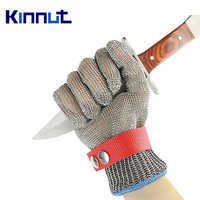 Kinnut Stainless Steel Metal Mesh protectative Cut Resistant Gloves Level 5 Anti Cut brasion Safety Hand Protection Gloves 1pair.