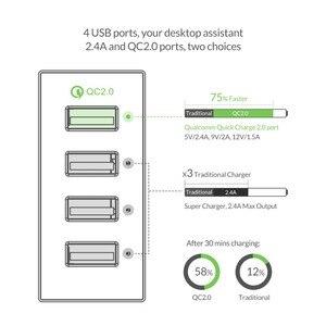 Image 2 - Orico 4/5 porto qc2.0 carga rápida 2.0 inteligente desktop do telefone móvel carregador usb universal rápido carregador para samsung iphone x 8 plus