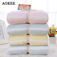 75*150cm Microfiber Terry Thick Bath Towels Absorbent Striped Quick Drying Adult Bathroom Towels AOKEE Beach Towel playa toallas