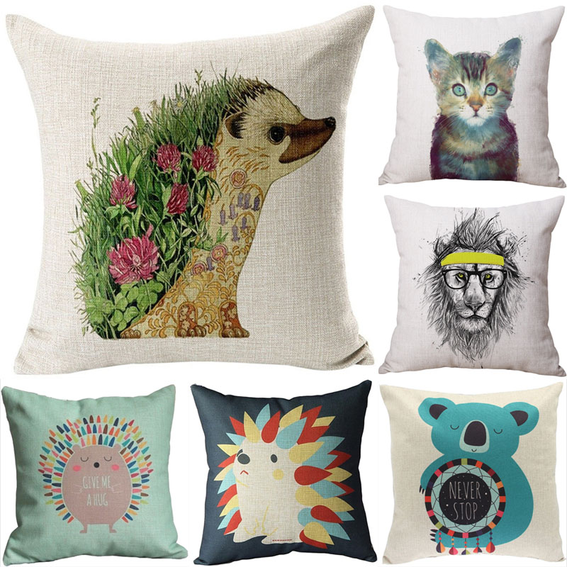 Animal Cushion Cover Hedgehog Fox Cotton Linen Chair Seat Decorative Pillow Cover 45x45cm ...