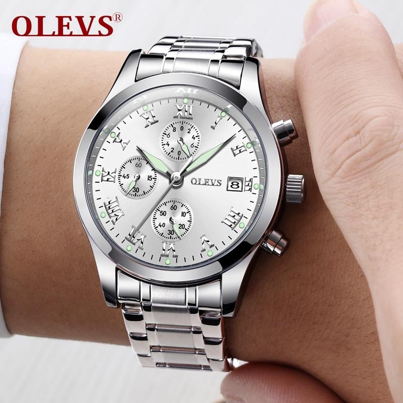 OLEVS 2018 New Watches Men Luxury Brand Chronograph Mens Sports Watches Stainless Steel Waterproof Quartz Watch erkek kol saati