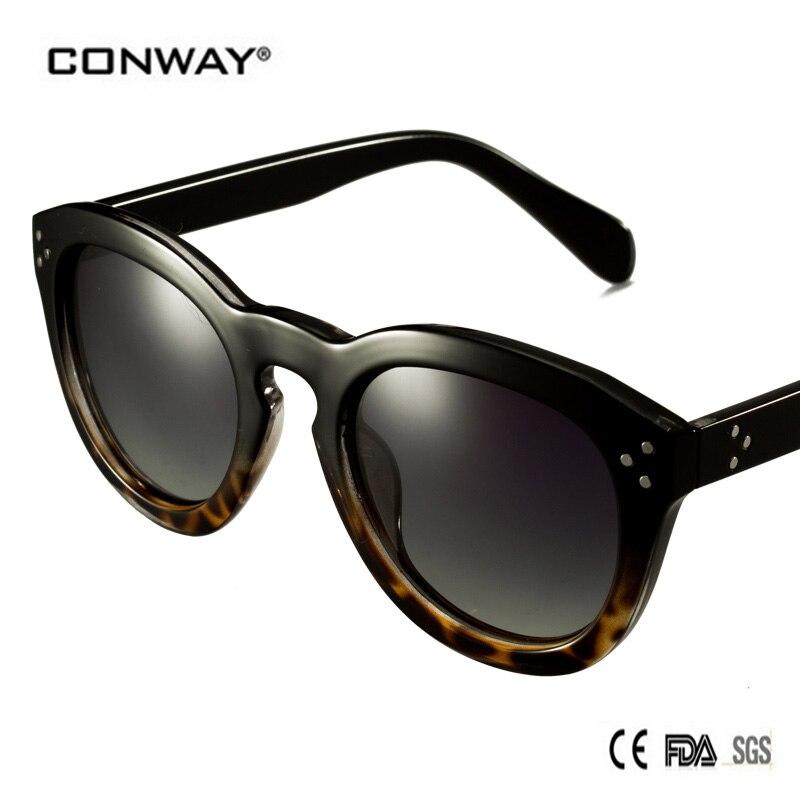 18e413dece CONWAY 2017 Fashion Polarized Sunglasses relogio masculino Women Polaroid  Round lenses Goggle Sunglasses gafas de sol