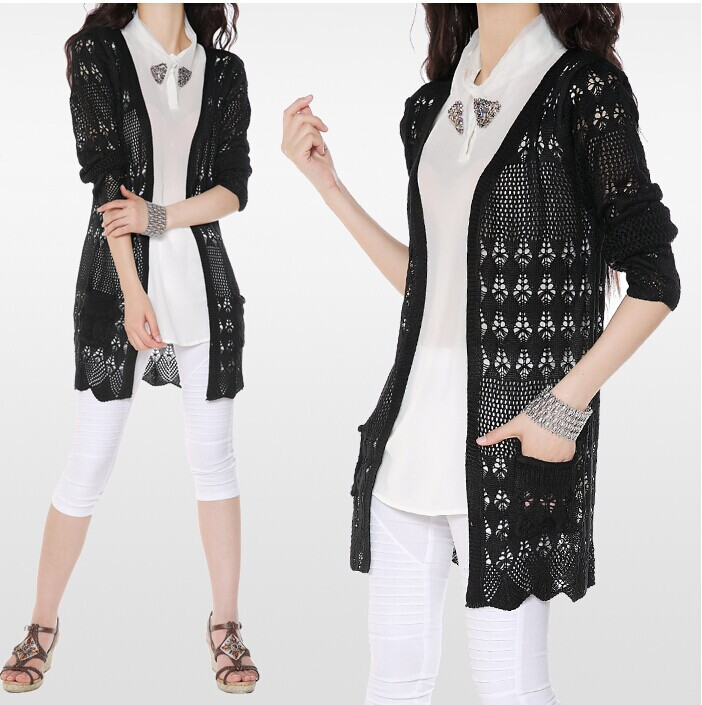 2016 New Summer Women Sweater Knitted Plus Size Long Cardigan ...