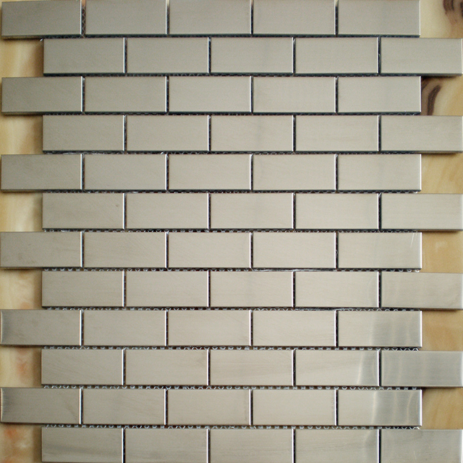 Construction Silver Tiles Stainless Steel Subway Tile Backsplash