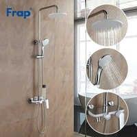 Frap Bad Weiß Dusche Wasserhahn Regen Dusche Kopf Hand Dusche Sprayer Bad Dusche System Set Wasser Mischbatterie Torneira F2431