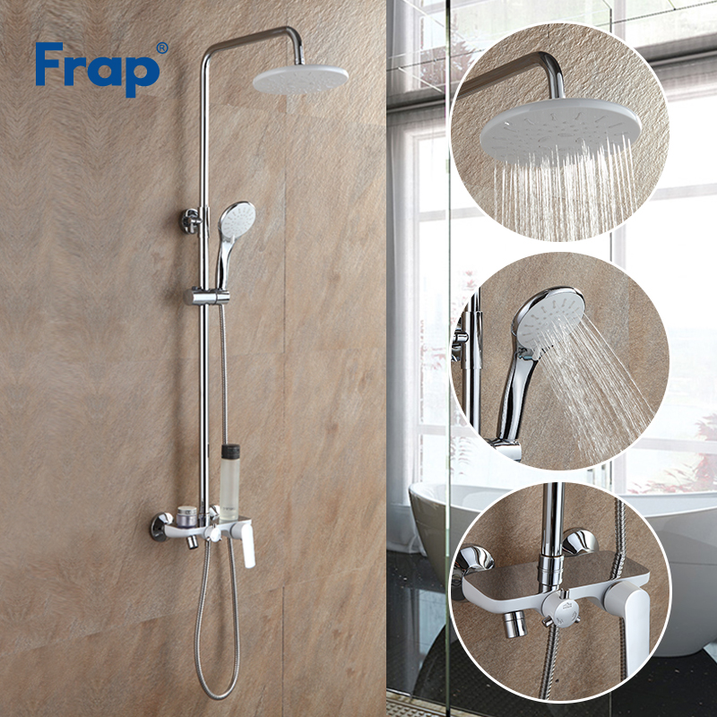 Frap Bath White Shower Faucet Rainfall Shower Head Hand Shower Sprayer Bathroom Shower System Set Water Tap Mixer Torneira F2431-in Shower Faucets from Home Improvement