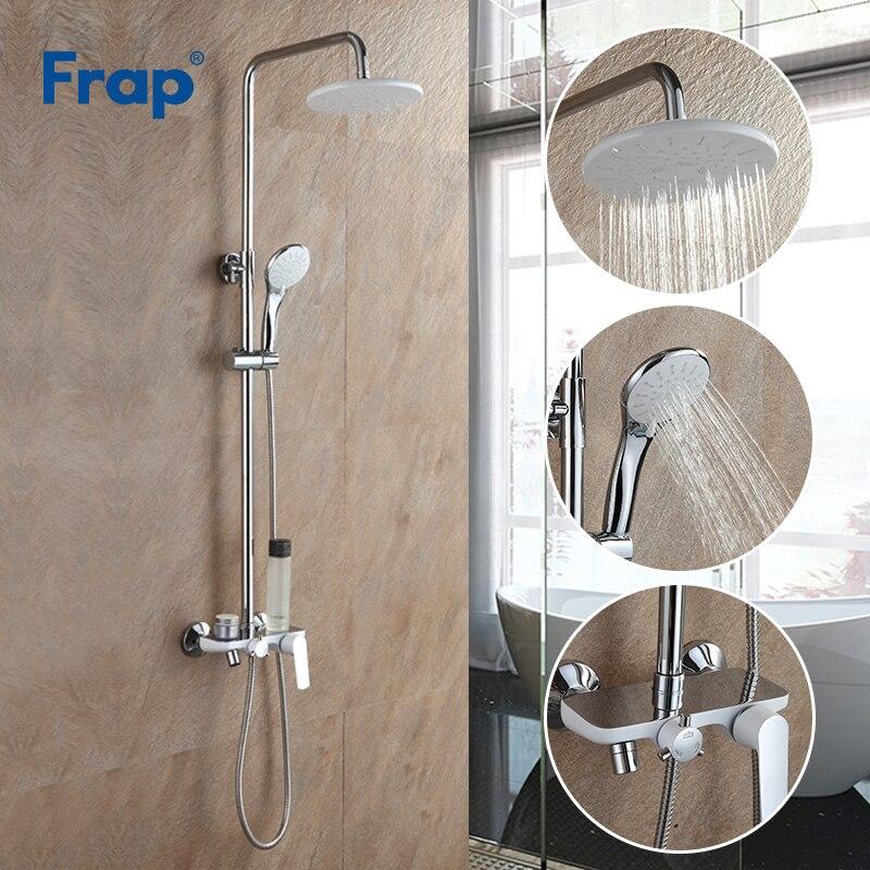 Frap bain blanc robinet de douche pluie pomme de douche douchette pulvérisateur salle de bains système de douche ensemble robinet d'eau mélangeur Torneira F2431