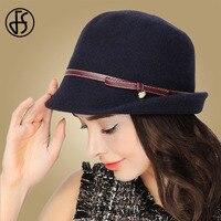 FS Winter Hat For Women Elegant Wool Blend Navy Gray Formal Cap Ladies Felt Fedora Caps Wide Brim Bucket Hats With Leather Belt