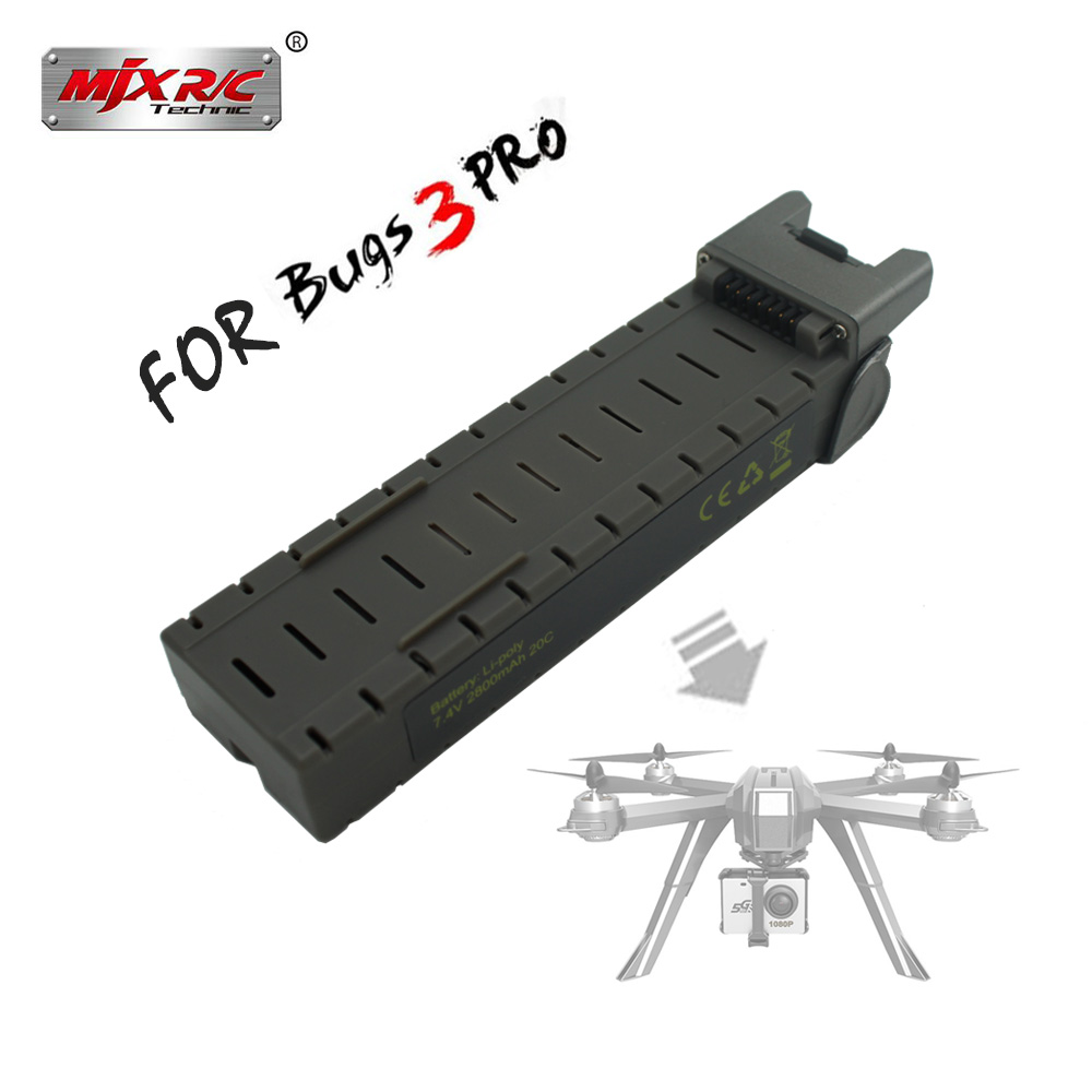 Original MJX Bugs 3 pro RC Helicopter <font><b>7.4V</b></font> 2800mAH <font><b>Li</b></font>-<font><b>Po</b></font> Battery For B3PRO Quadcopter RC Drone Spare Parts rechargeable Battery image
