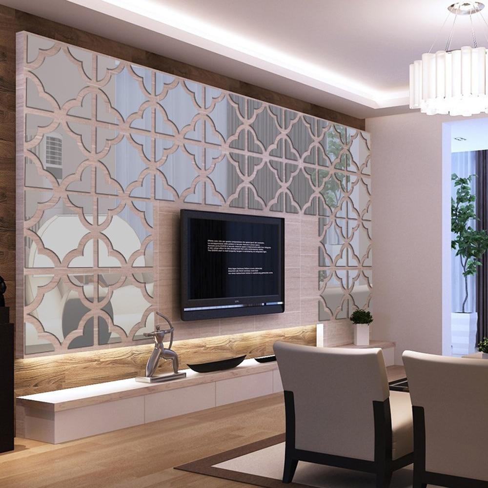 DIY Wall Decor Art Living Room Acrylic Mirrored Square ...
