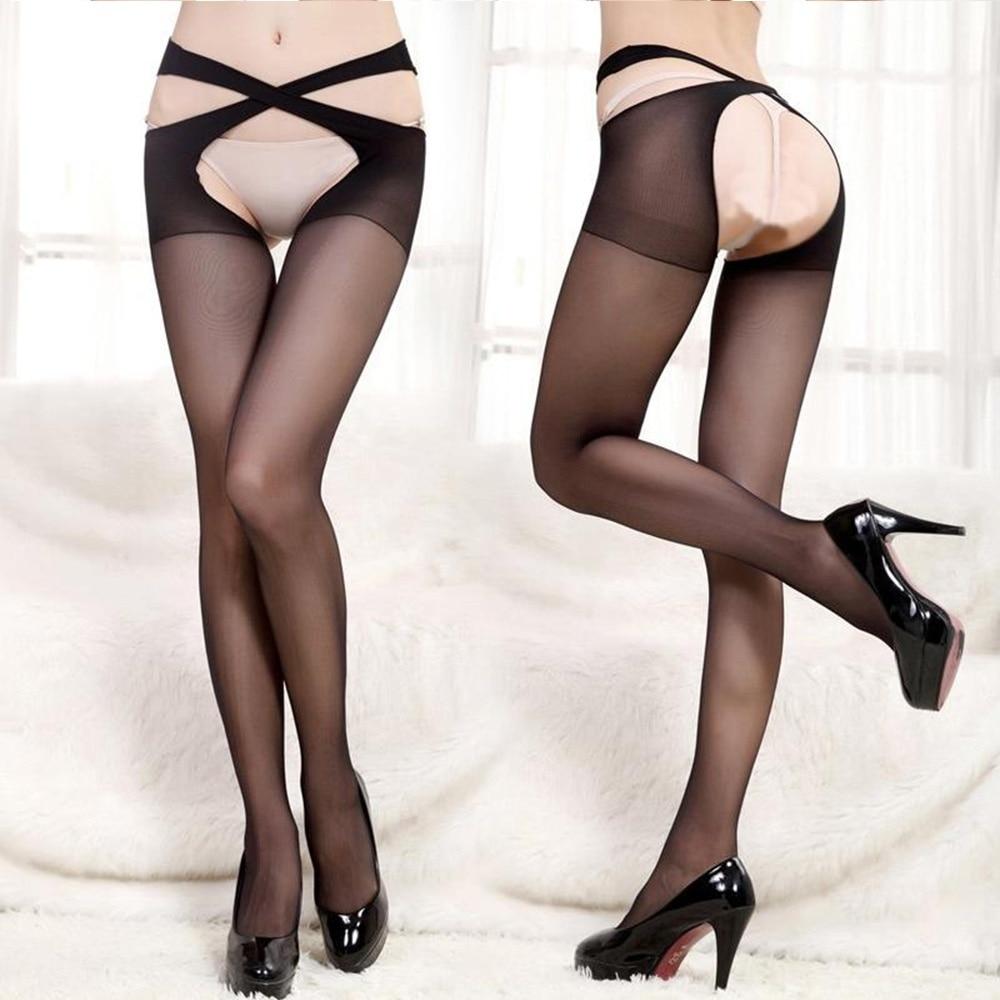 1 Pair Fashion Women Sexy Cross Belt Waist Crotchless Pantyhose Stocking Tights Lingerie Nightwear