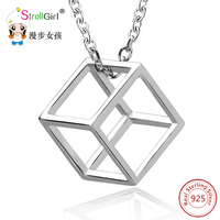 StrollGirl S925 Sterling Silver Charm Cube Necklace 2017 New Style Lovers Square Shape Pendant Girl Body