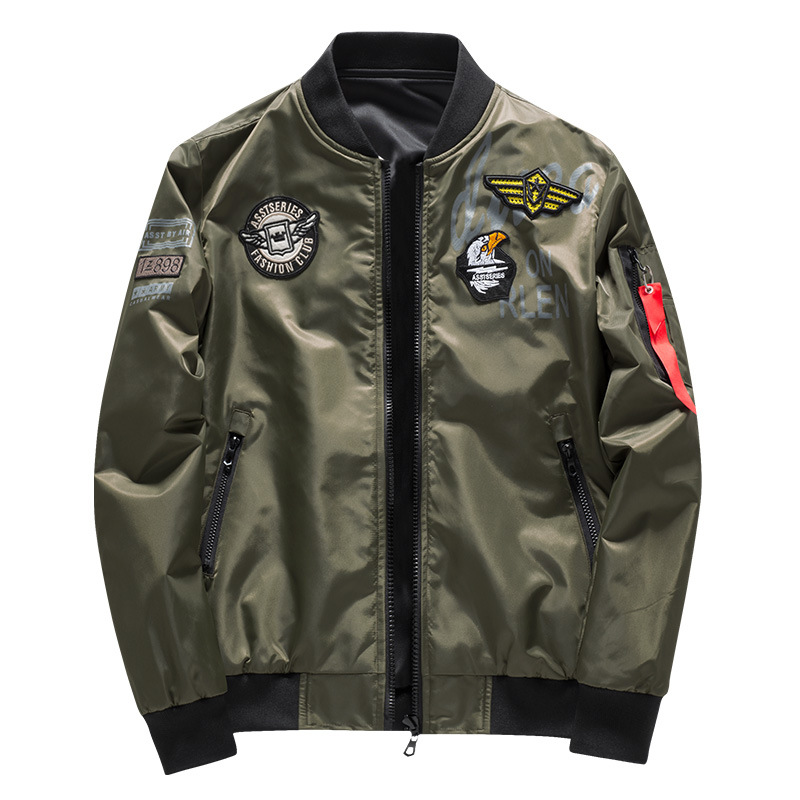 Image 2 - Male Bomber Jacket Men Army Military Pilot Jacket Badge Embroidery Baseball Jacket Double Sided Motorcycle Coat Big Size 5XL 6XL-in Jackets from Men's Clothing