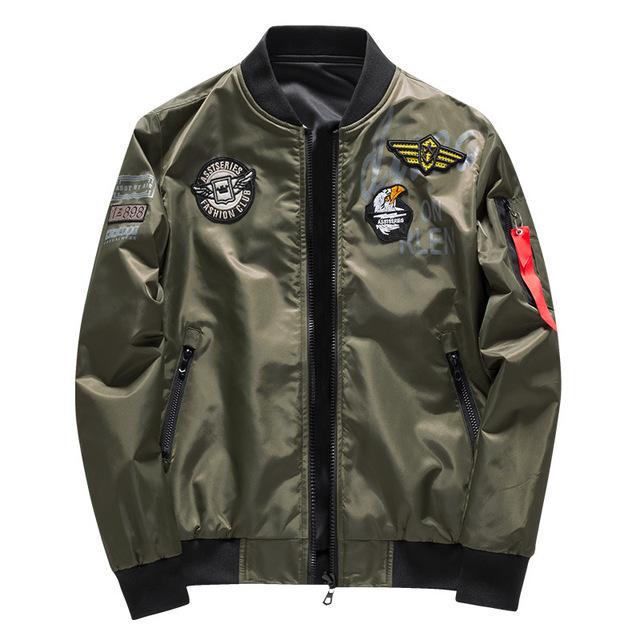 Male Bomber Jacket Men Army Military Pilot Jacket Badge Embroidery Baseball Jacket Double Sided Motorcycle Coat Big Size 5XL 6XL