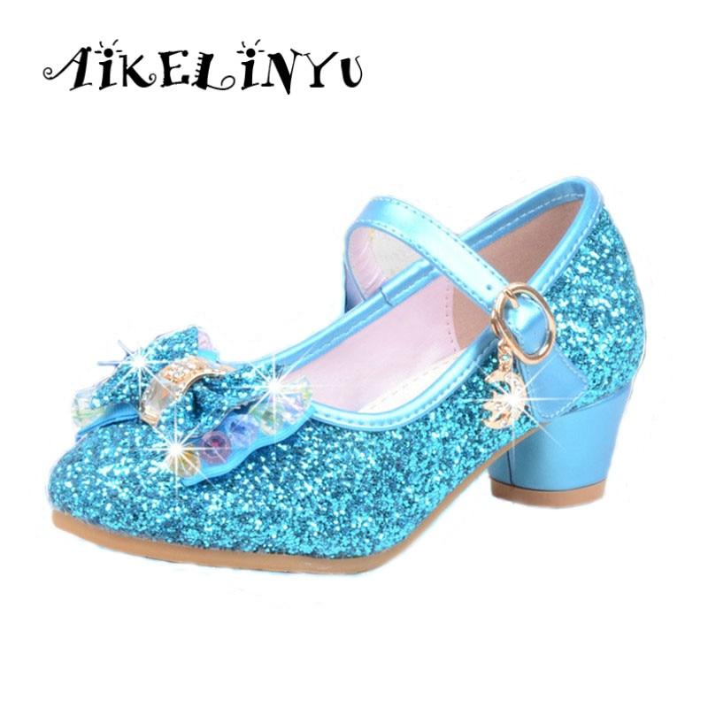 Mutter & Kinder Mädchen Schuhe Heels Zapatos Elsa Schnee Königin Anime Cosplay Sandales Lolita Süße Kinder Keil Günstige Mädchen Sandale Kind 2019 003