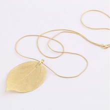 Jewelry Maxi Necklace Rose Gold Color Chain Real Leaf Charm Design Pendant Necklaces