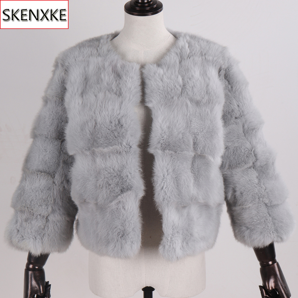 Autumn Winter Women Genuine Fur Overcoats Natural Warm Soft Real Rabbit Fur Jacket New Lady Fashion Casual Short Rabbit Fur Coat