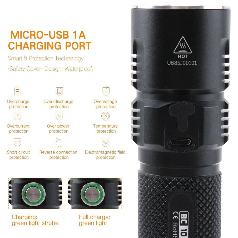 BORUiT BC10 XHP70.2 LED lampe de Poche 6-Mode USB Chargeur Torche Max 3600LM Puissance Banque Lanterne Camping Flash Lampe par 26650 Batterie - 4