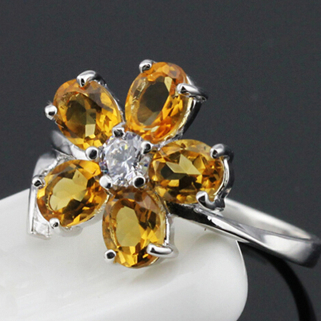 Fashion flower ring natural citrine gemstone silver ring solid 925 silver yellow crystal ring citrine ring for girlfriend