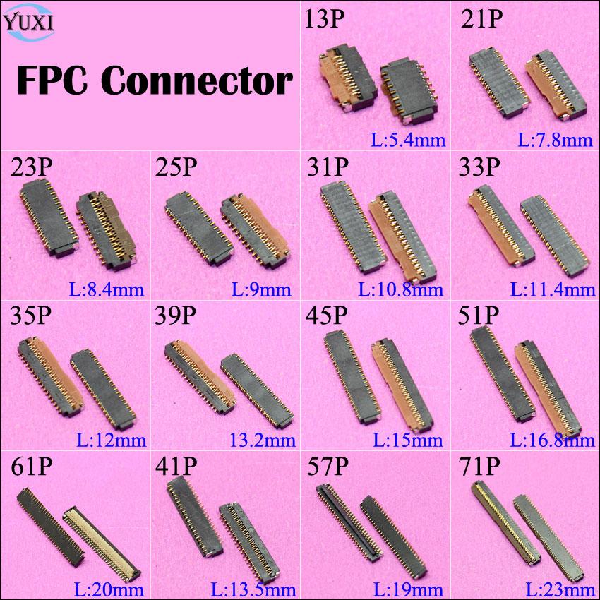 2 шт. гнезда соединителя для ЖК экрана YuXi, FPC на материнскую плату 13P 21P 23P 25P 31P 35P 39P 45P 51P 61P 41P 57P 71P Pin|Компьютерные кабели и разъемы|   | АлиЭкспресс