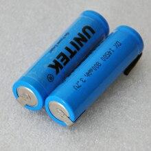 В 4-6 шт. 14500 в 3,7 литий-ионная аккумуляторная батарея 800 мАч AA литий-ионный ячейка с сварочными вкладками контакты для электробритва зубная щетка