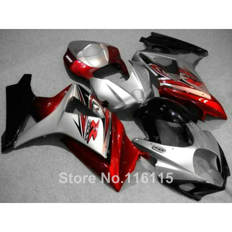 Free customize fairing kit for SUZUKI GSXR 1000 K7 K8 2007 2008 fairings red silver black 07 08 GSXR1000 ABS bodykits JS31 abs plastic fairing kit for suzuki gsxr1000 2007 2008 k7 gsxr 1000 07 08 red black moto fairings set cb34 7 gifts