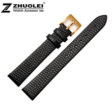 10mm 12mm 14mm 16mm 18mm 20mm New High quality Women Black Genuine Leather Watch Band Strap Bracelet With Gold Pin Buckle