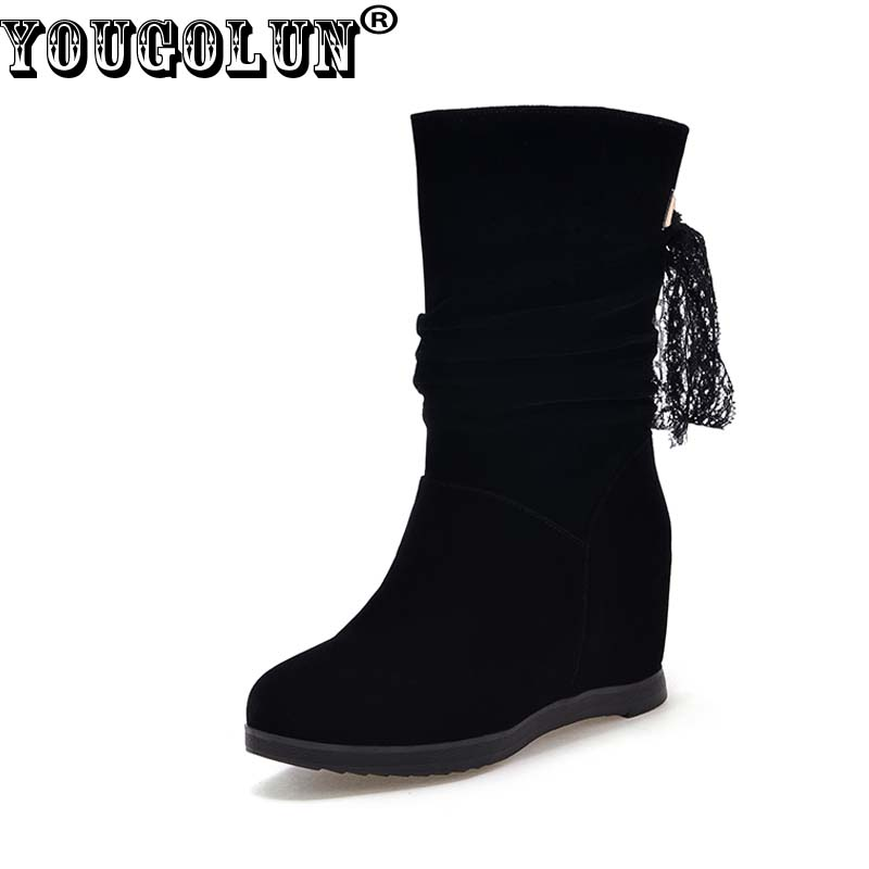 YOUGOLUN Women Ankle Boots 2017 New Autumn Winter Wedges Heel 6 cm Black Back Lace-up Round toe High Wedge Heels PU Shoes #Y-150 enmayla lace up mew ankle boots for women high heels wedges size 34 39 round toe autumn and winter boots platform shoes riding