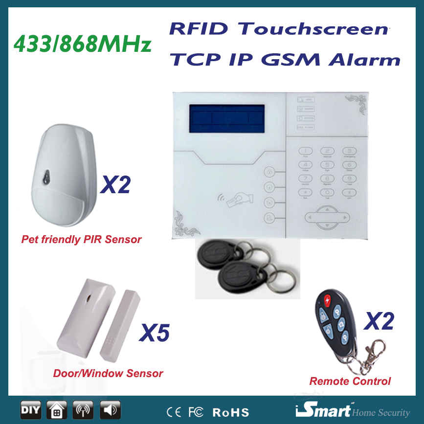 New Arrival TCP IP GSM GPRS Alarme Systems Touchscreen RFID Tags Swipe Arm/Disarm, with Pet Immuntiy PIR Sensors arduino atmega328p gboard 800 direct factory gsm gprs sim800 quad band development board 7v 23v with gsm gprs bt module