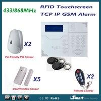 Nuovo Arrivo TCP IP GPRS GSM Alarme Sistemi Touchscreen Tag RFID Swipe Inserimento/Disinserimento, con Animali Da Compagnia Immuntiy Sensori PIR