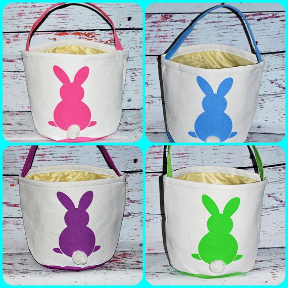 45pcs lot Easter Basket Canvas Easter Tail Bucket Basket Tote Bags Kids Gift Happy Easter Decoration