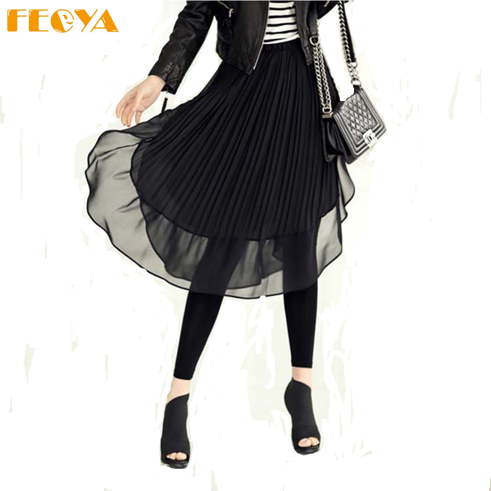 3812106b4f Black Chiffon Pleated Midi Skirt – DACC