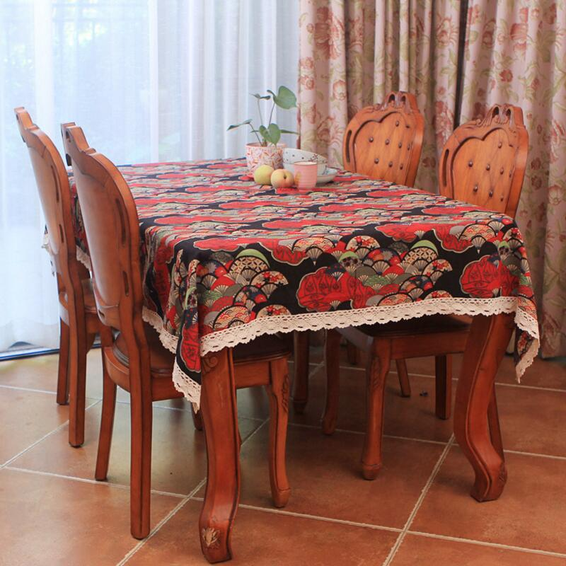 Honey Japanese Classic Cherry Lace Edge Table Cloth Dining Table Mat Coffee Tea Table Tablecloth Bar Restaurant Decoration Home Decor Table & Sofa Linens
