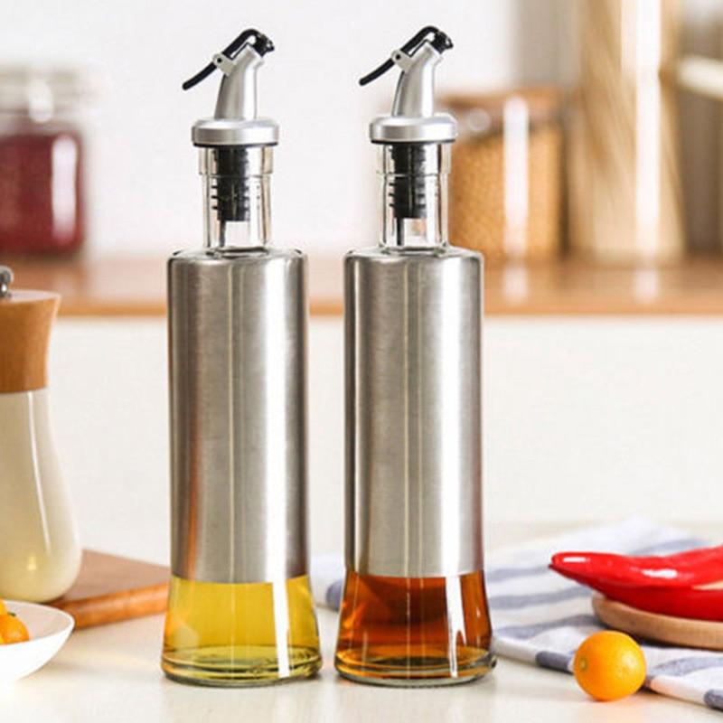 Acier inoxydable Verre Pompe À Huile Bouteille Pulvérisateur D'huile Pot Sauce Au Vinaigre Distributeur