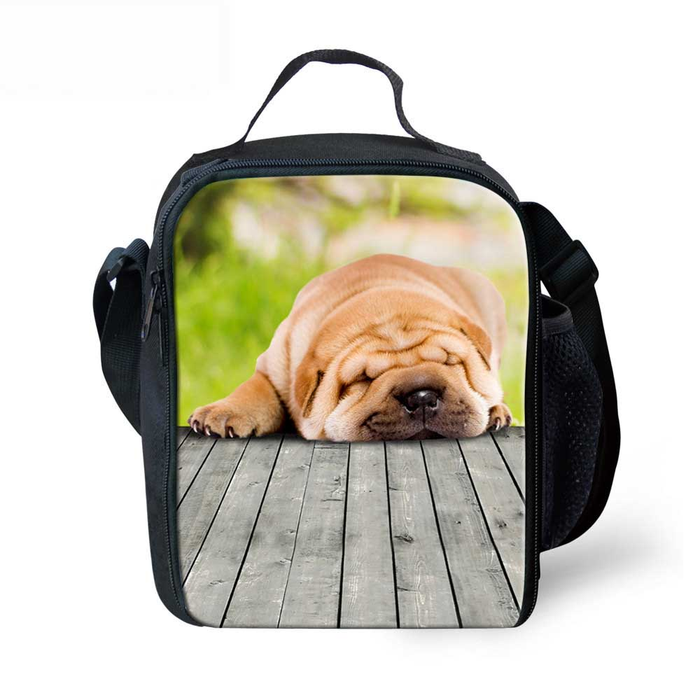 Trendy Portable Insulated Polyeste Lunch Bag Lazzy Dog Cat Print Thermal Food Picnic Lunch Bags Women Kids Cooler Lunch Bag Tote