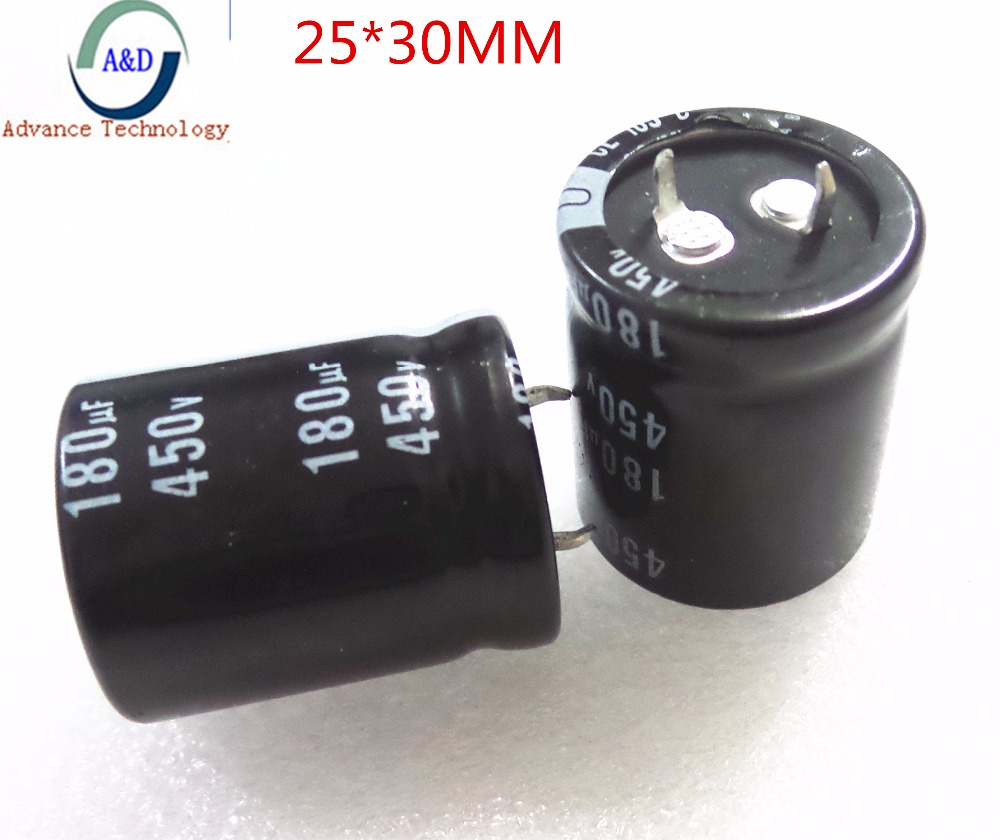 2pcs/lot 450V 180UF Radial DIP Aluminum Electrolytic Capacitors Size 25*30 180UF 450V Tolerance 20%