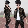 Crianças Novas Meninos Meninas Camuflagem Ternos de Roupas Crianças Primavera Outono Esportes Roupas das Crianças Two-piece Conjuntos de Treinamento Militar