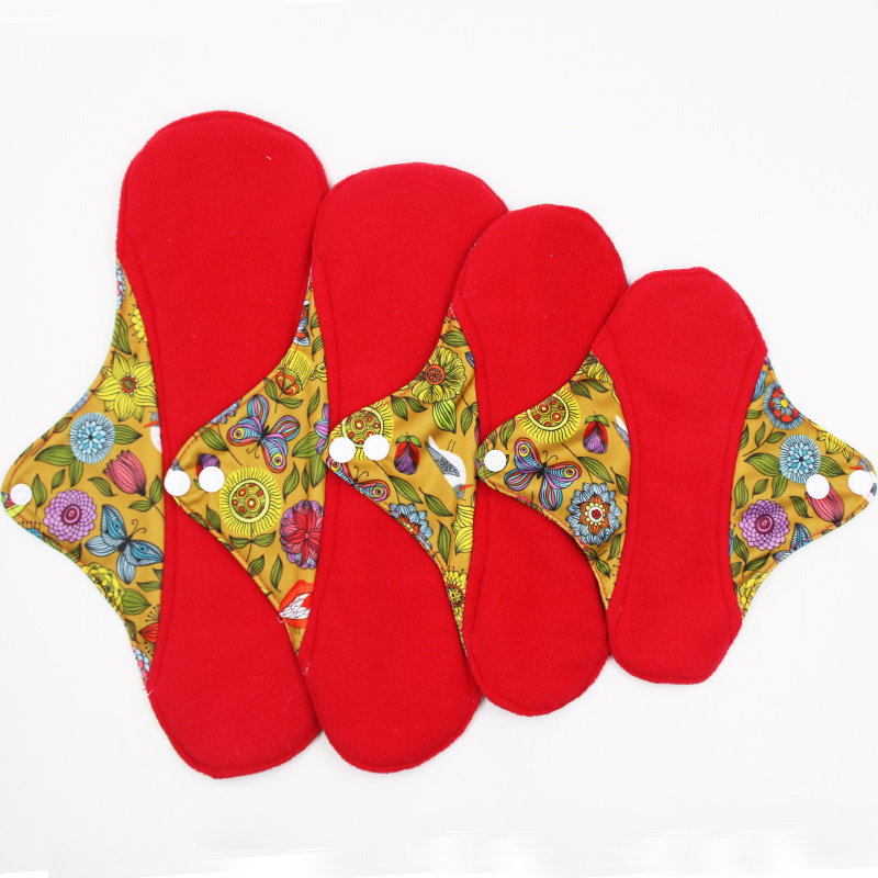 reusable cloth pads for special days, red micro-fleece inner menstrual pad with wings, 4 size women sanitary day and night pads