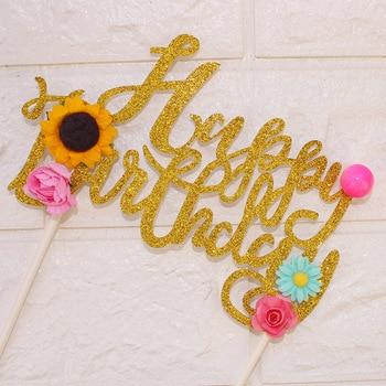 1pc Lovely Flowers Cake Topper Happy Birthday Flag Sunflower Party Decor DIY