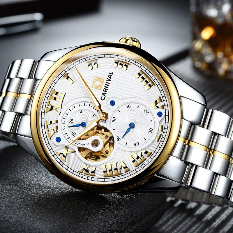 Carnaval Mechanisch Horloge 40mm Zakenlui Horloge Waterdicht 24 uur, Lichtgevende Rvs Luxe Merk Horloge Zegarki Meskie-in Mechanische Horloges van Horloges op  Groep 2