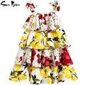 Летнее платье детей девочек одежда многоуровневая принцесса девочка платье цветок лимона девочек-подростков одежда повседневная дети платья vestidos