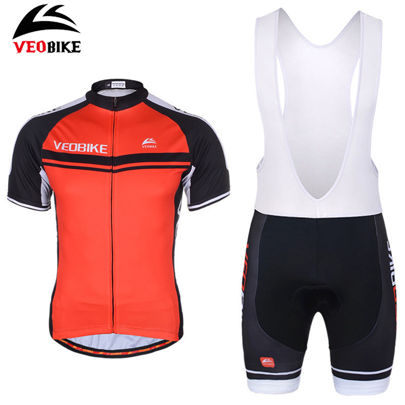 все цены на VEOBIKE Bicycle Clothing Ropa Ciclismo Short Sleeve Gel Pad Bib/Shorts Sport Clothes Men Pro MTB Road Bike Cycling Jersey Set онлайн
