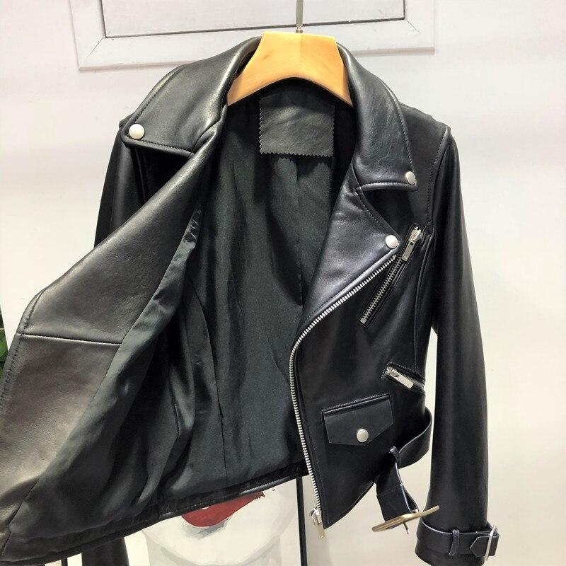 Cuir Bomber Autunm Véritable Qualité Peau Lady Mode Nouvelle 2018 Moto Femmes Haute En De Mouton Hiver Vestes UzYwE5