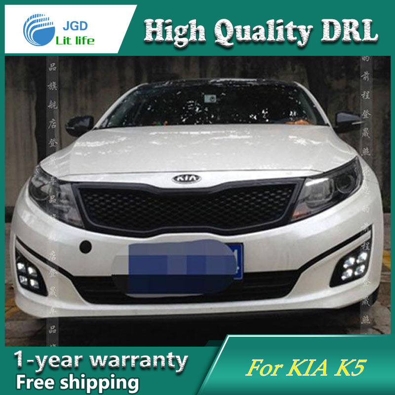 Free shipping !12V 6000k LED DRL Daytime running light case for KIA K5 2011-2015 fog lamp frame Fog light free shipping k5 metal shell