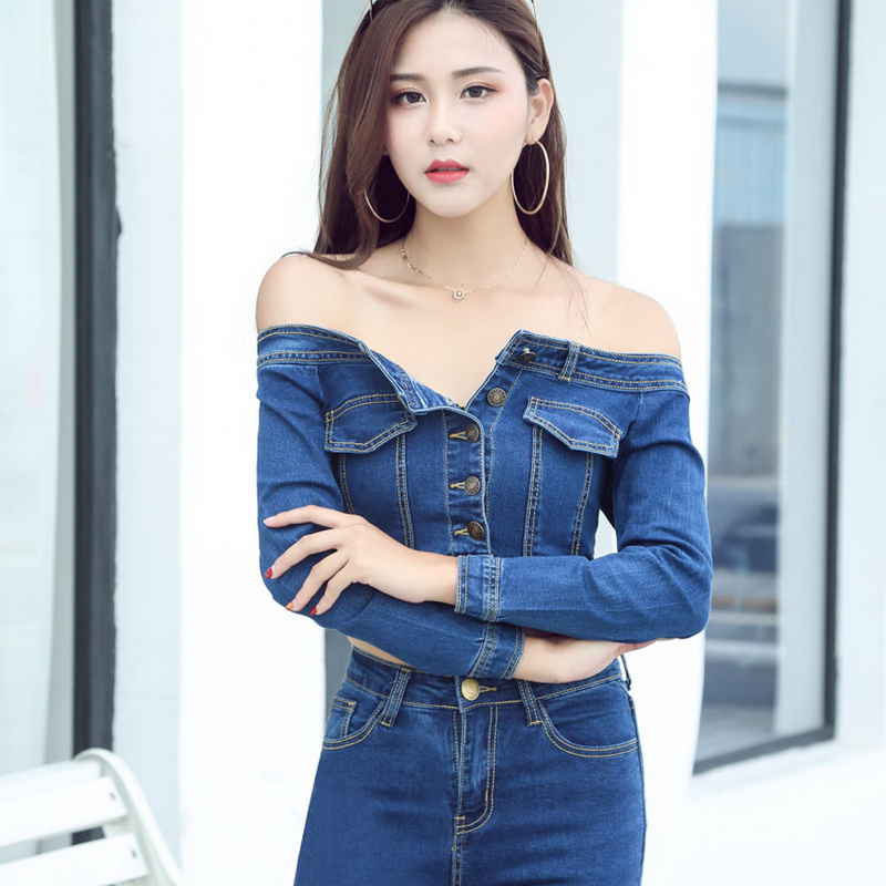 2018 New Women Basic Coat Denim Jackets Women Spring Denim Jacket For Women Off Shoulder Blue Denim Coat loose fit casual style